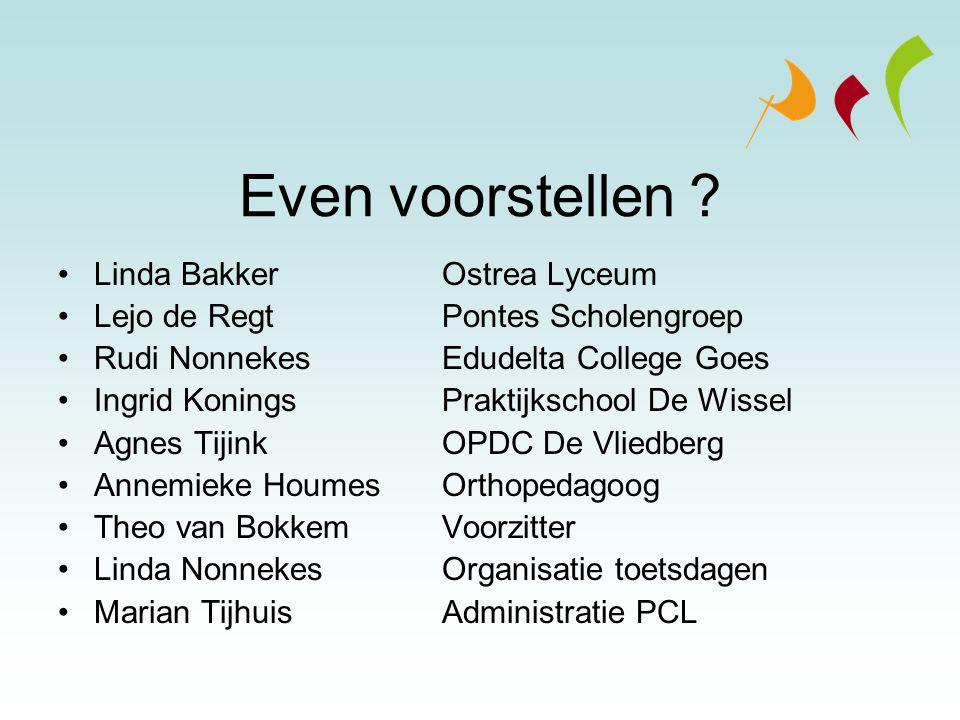 Even voorstellen ? Linda Bakker Ostrea Lyceum Lejo de RegtPontes Scholengroep Rudi Nonnekes Edudelta College Goes Ingrid KoningsPraktijkschool De Wiss