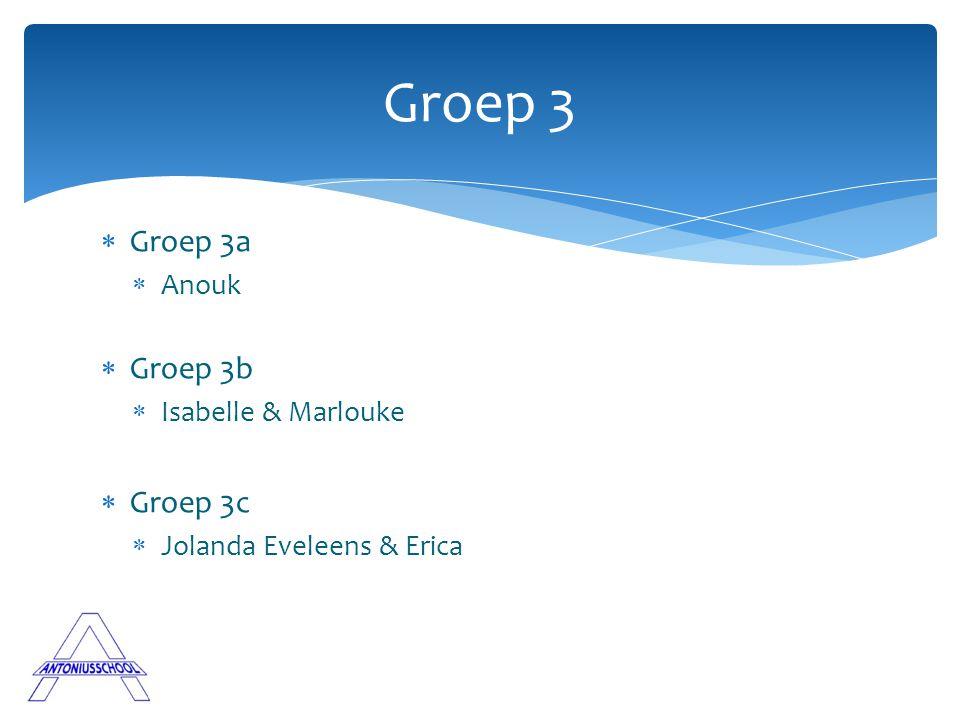  Groep 3a  Anouk  Groep 3b  Isabelle & Marlouke  Groep 3c  Jolanda Eveleens & Erica Groep 3