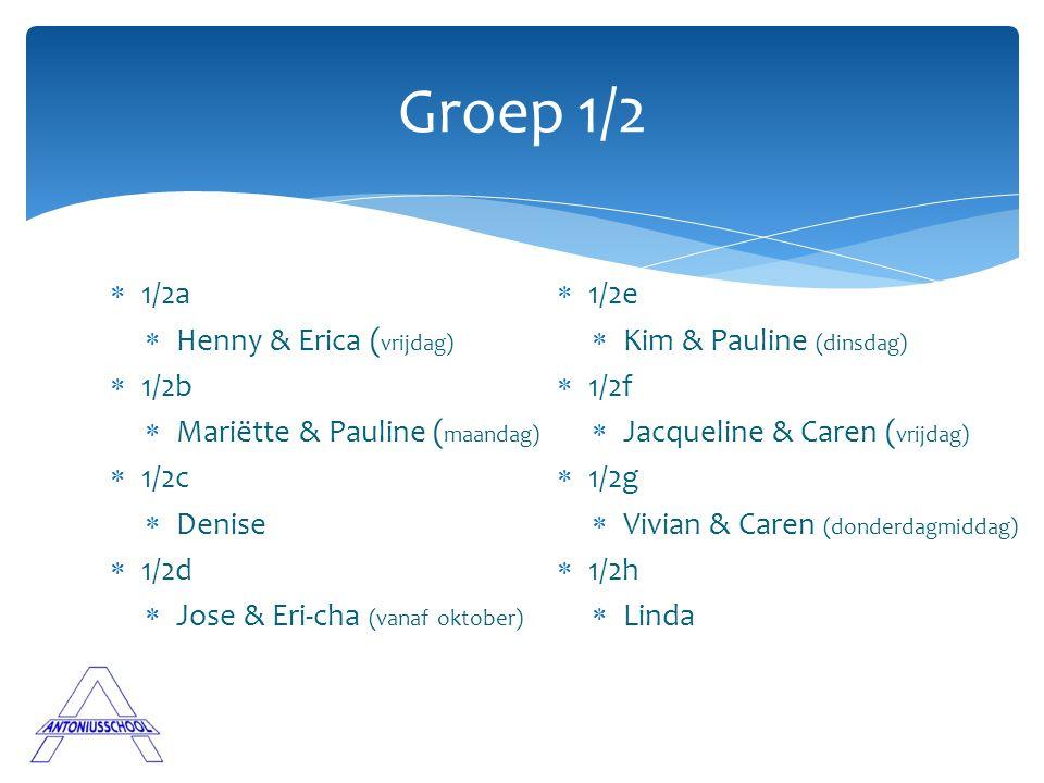  1/2a  Henny & Erica ( vrijdag)  1/2b  Mariëtte & Pauline ( maandag)  1/2c  Denise  1/2d  Jose & Eri-cha (vanaf oktober) Groep 1/2  1/2e  Ki