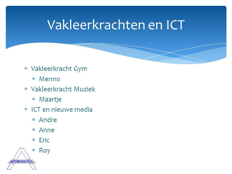  Vakleerkracht Gym  Menno  Vakleerkracht Muziek  Maartje  ICT en nieuwe media  Andre  Anne  Eric  Roy Vakleerkrachten en ICT