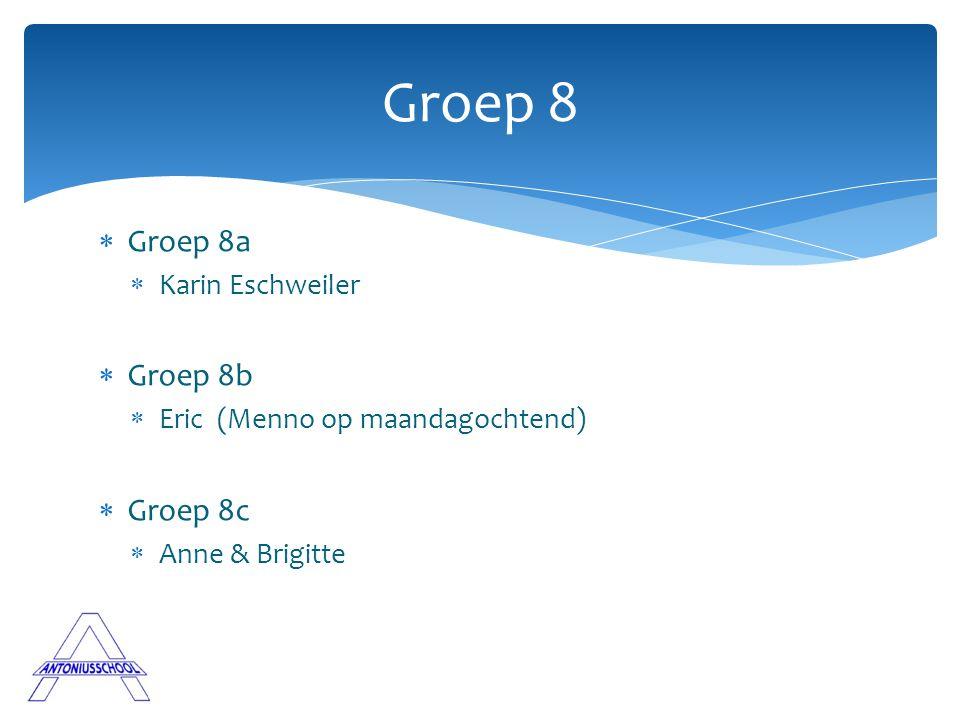  Groep 8a  Karin Eschweiler  Groep 8b  Eric (Menno op maandagochtend)  Groep 8c  Anne & Brigitte Groep 8