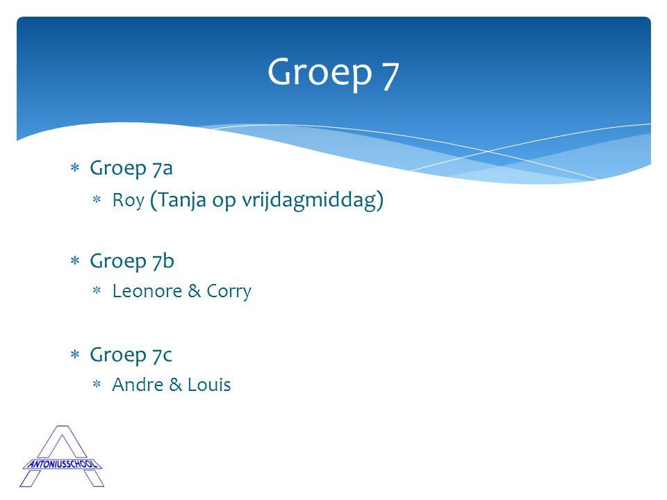  Groep 7a  Roy (Tanja op vrijdagmiddag)  Groep 7b  Leonore & Corry  Groep 7c  Andre & Louis Groep 7