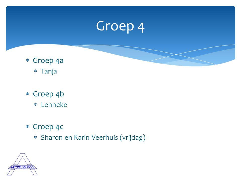  Groep 4a  Tanja  Groep 4b  Lenneke  Groep 4c  Sharon en Karin Veerhuis (vrijdag) Groep 4
