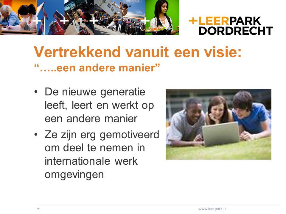 www.leerpark.nl Lifestyle Leren wordt onafhankelijk van plaats en tijd gedaan Constant in contact met anderen - altijd online Motivatie wordt verhoogd door realistische opdrachten Variatie op het werk