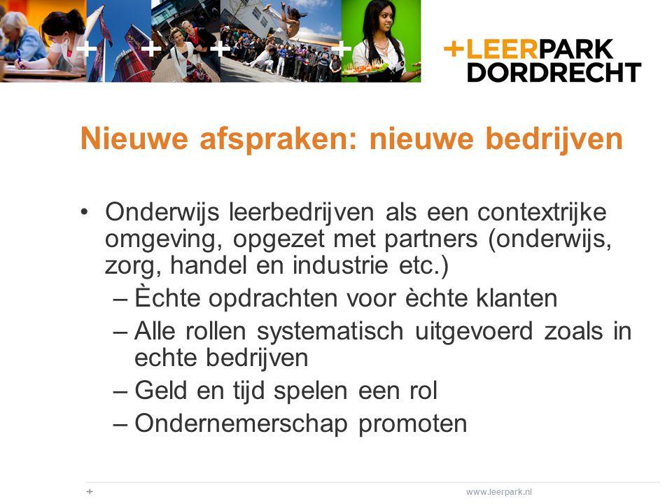 www.leerpark.nl Onderwijspraktijk in leerbedrijfjes