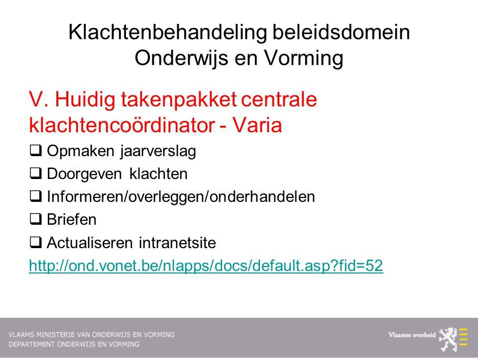 Klachtenbehandeling beleidsdomein Onderwijs en Vorming V.