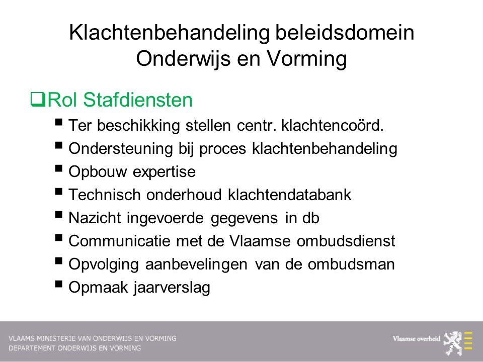 Klachtenbehandeling beleidsdomein Onderwijs en Vorming  Rol Stafdiensten  Ter beschikking stellen centr.