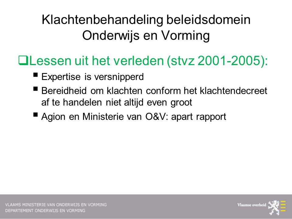 Klachtenbehandeling beleidsdomein Onderwijs en Vorming  Lessen uit het verleden (stvz 2001-2005):  Expertise is versnipperd  Bereidheid om klachten
