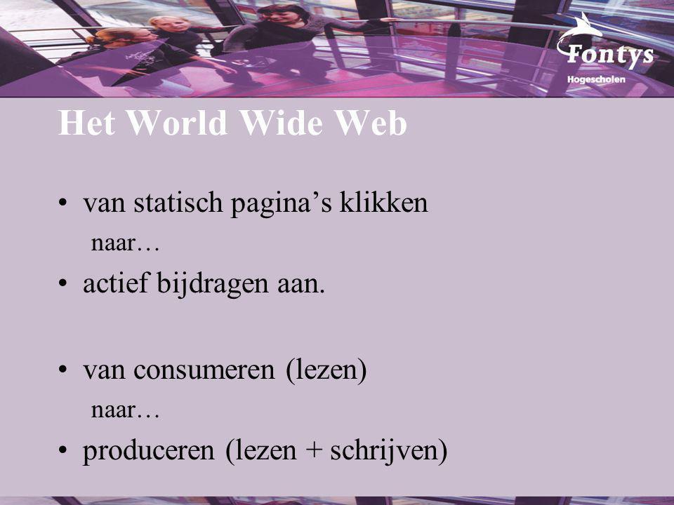 Syndicatie In een RSS-lezer Op een andere site: –http://www.edublogs.nl/groep –http://www.blogdigger.com/ Niet alleen voor weblogs: –http://www.nieuws.nl/ Of door iemand anders onderhouden: –Edusite: http://www.gorissen.info/rss/edusite_rss.xml