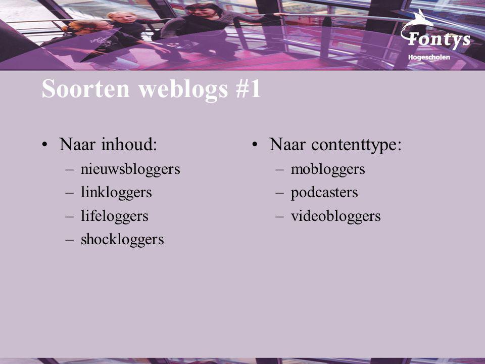 Soorten weblogs #1 Naar inhoud: –nieuwsbloggers –linkloggers –lifeloggers –shockloggers Naar contenttype: –mobloggers –podcasters –videobloggers