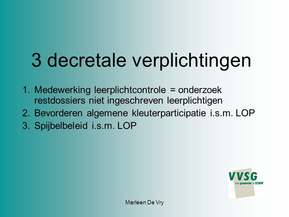 Marleen De Vry 3 decretale verplichtingen 1.Medewerking leerplichtcontrole = onderzoek restdossiers niet ingeschreven leerplichtigen 2.Bevorderen algemene kleuterparticipatie i.s.m.