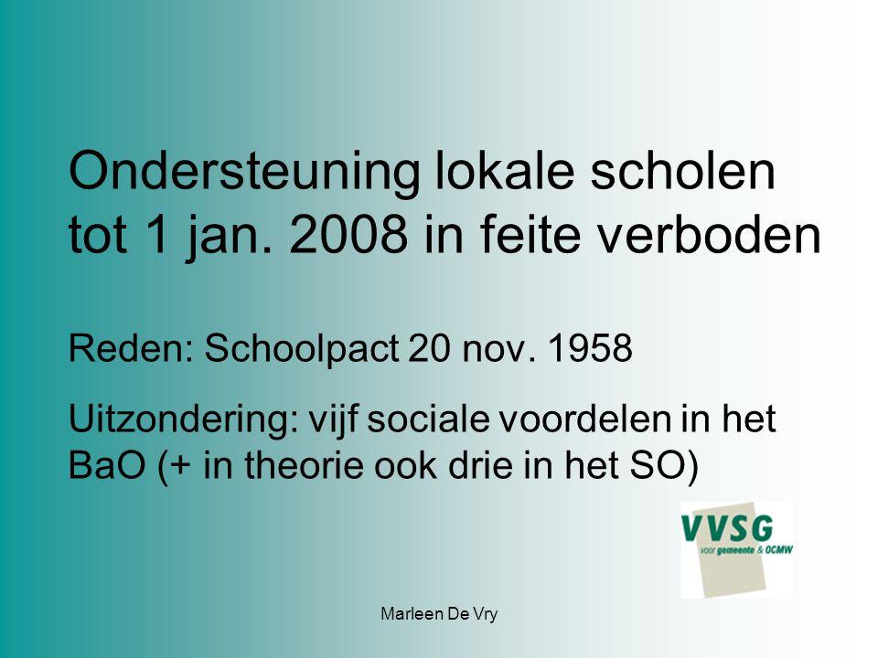 Marleen De Vry Ondersteuning lokale scholen tot 1 jan.