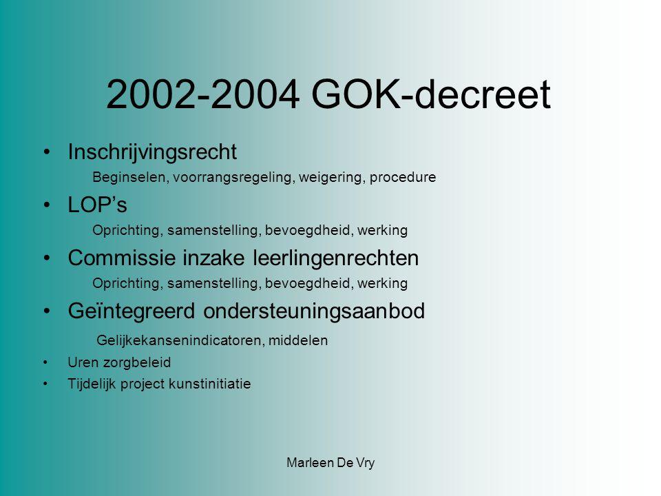 2002-2004 GOK-decreet Inschrijvingsrecht Beginselen, voorrangsregeling, weigering, procedure LOP's Oprichting, samenstelling, bevoegdheid, werking Commissie inzake leerlingenrechten Oprichting, samenstelling, bevoegdheid, werking Geïntegreerd ondersteuningsaanbod Gelijkekansenindicatoren, middelen Uren zorgbeleid Tijdelijk project kunstinitiatie Marleen De Vry