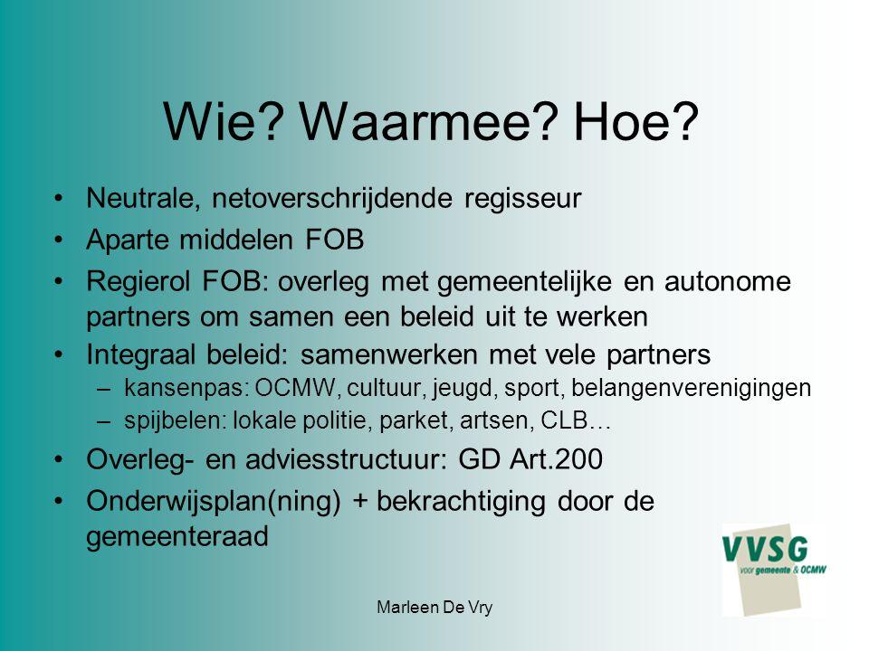 Marleen De Vry Wie. Waarmee. Hoe.