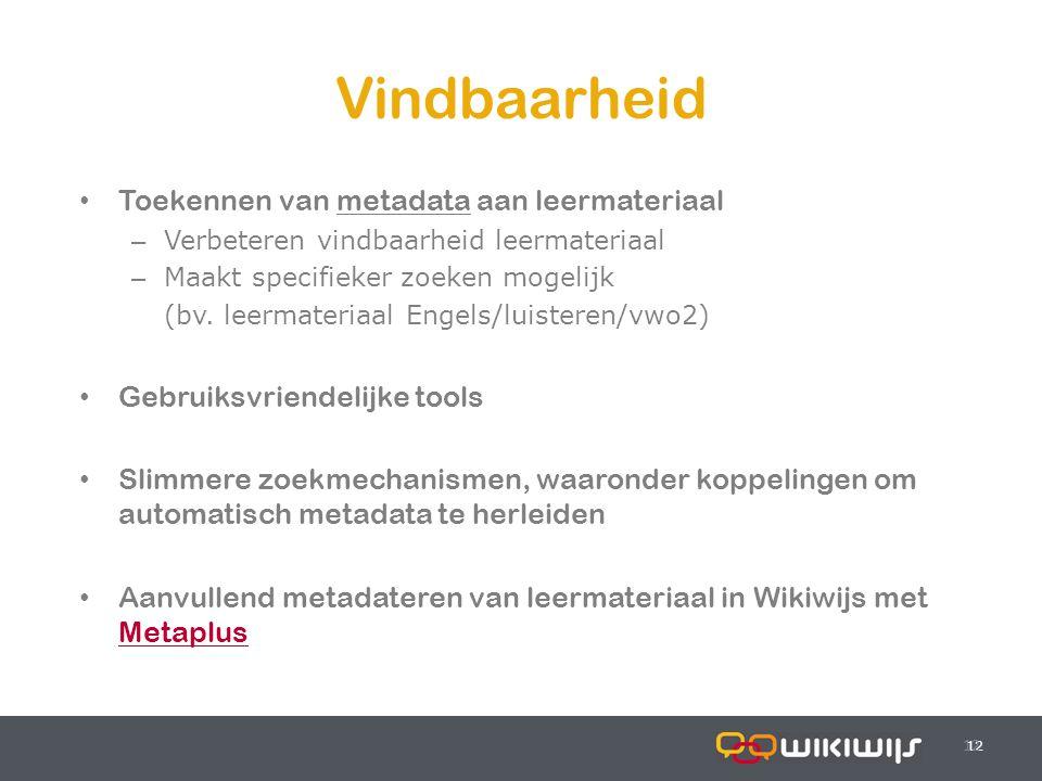 18-7-201412 Vindbaarheid 12 Toekennen van metadata aan leermateriaal – Verbeteren vindbaarheid leermateriaal – Maakt specifieker zoeken mogelijk (bv.