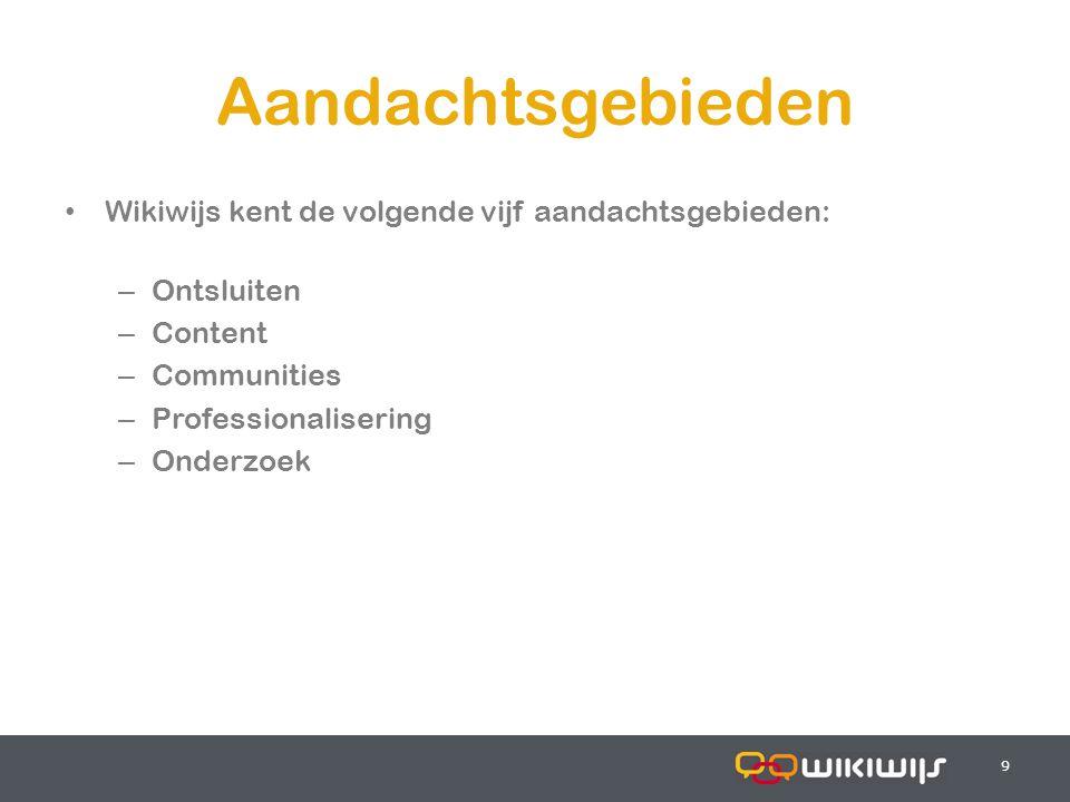 18-7-20149 99 Aandachtsgebieden Wikiwijs kent de volgende vijf aandachtsgebieden: – Ontsluiten – Content – Communities – Professionalisering – Onderzoek