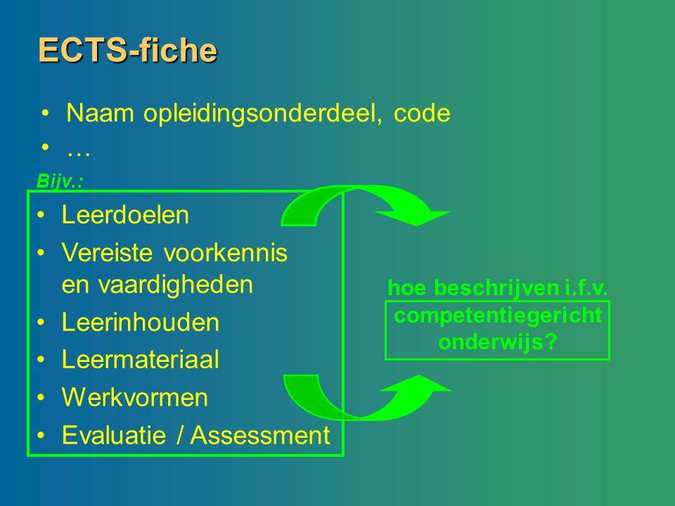 ECTS-fiche Naam opleidingsonderdeel, code … hoe beschrijven i.f.v. competentiegericht onderwijs? Leerdoelen Vereiste voorkennis en vaardigheden Leerin