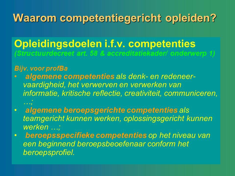 Waarom competentiegericht opleiden? Opleidingsdoelen i.f.v. competenties (Structuurdecreet art. 58 & accreditatiekader/ onderwerp 1) Bijv. voor profBa