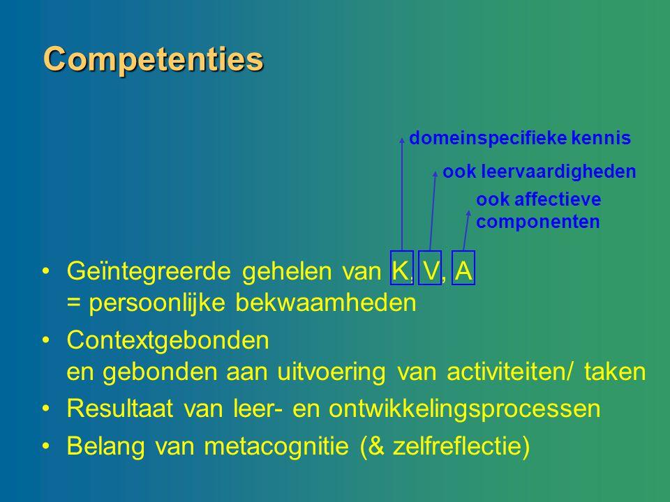 Competenties Geïntegreerde gehelen van K, V, A = persoonlijke bekwaamheden Contextgebonden en gebonden aan uitvoering van activiteiten/ taken Resultaa