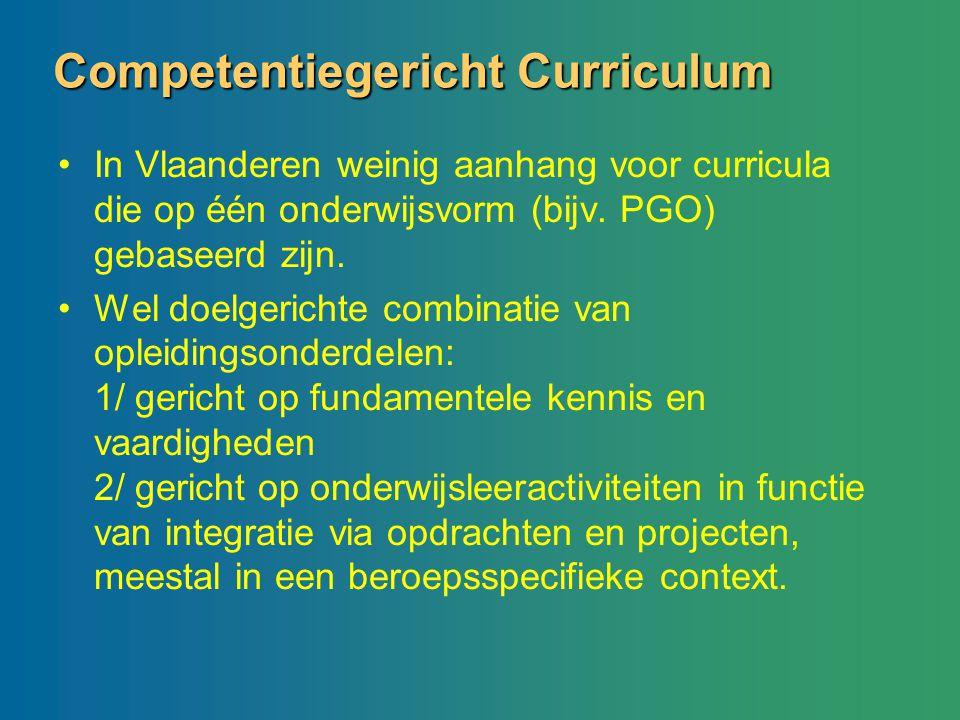 Competentiegericht Curriculum In Vlaanderen weinig aanhang voor curricula die op één onderwijsvorm (bijv. PGO) gebaseerd zijn. Wel doelgerichte combin