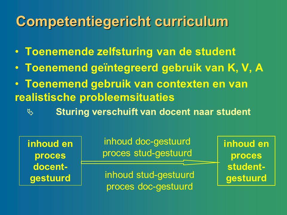 Competentiegericht curriculum Toenemende zelfsturing van de student Toenemend geïntegreerd gebruik van K, V, A Toenemend gebruik van contexten en van