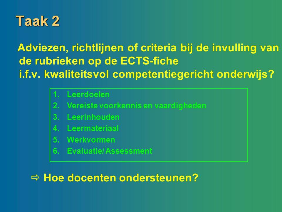 Taak 2 Adviezen, richtlijnen of criteria bij de invulling van de rubrieken op de ECTS-fiche i.f.v. kwaliteitsvol competentiegericht onderwijs? 1.Leerd