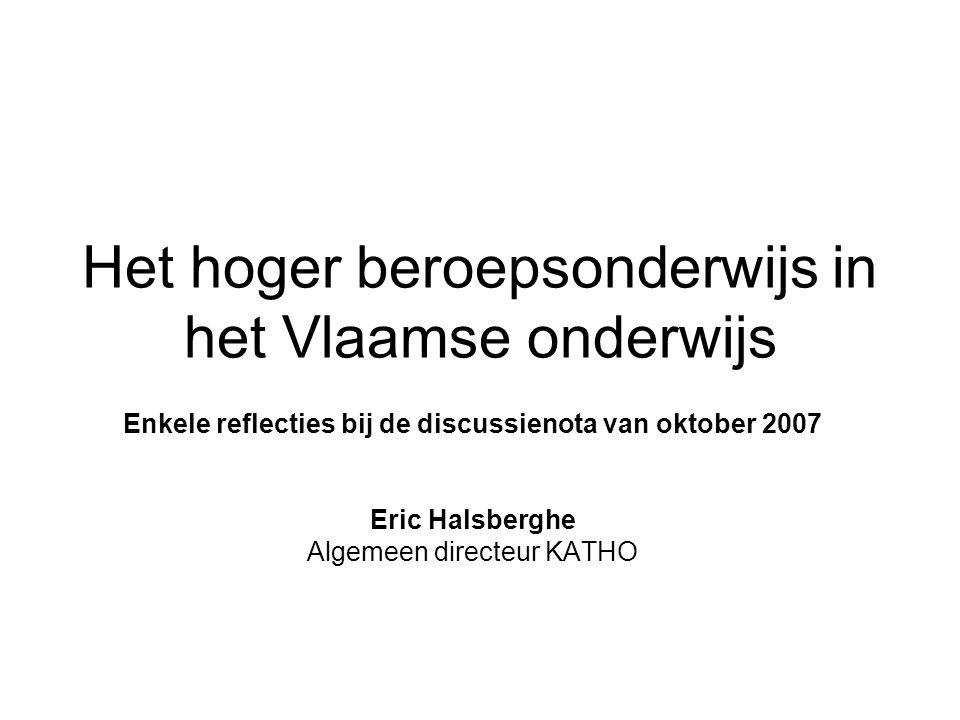 Het hoger beroepsonderwijs in het Vlaamse onderwijs Enkele reflecties bij de discussienota van oktober 2007 Eric Halsberghe Algemeen directeur KATHO