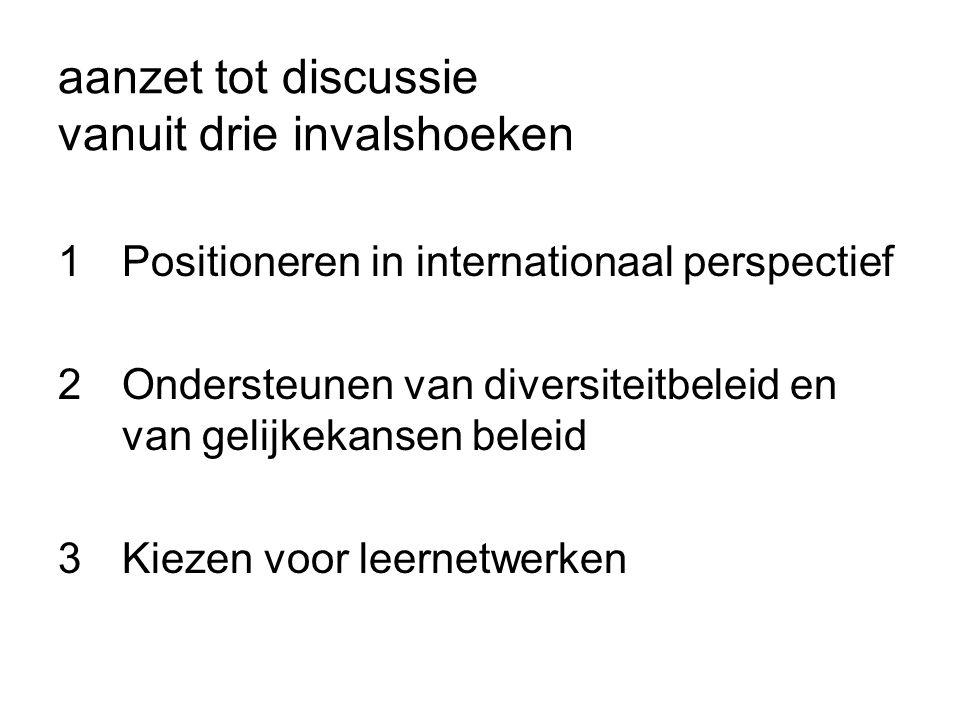 aanzet tot discussie vanuit drie invalshoeken 1Positioneren in internationaal perspectief 2Ondersteunen van diversiteitbeleid en van gelijkekansen beleid 3Kiezen voor leernetwerken