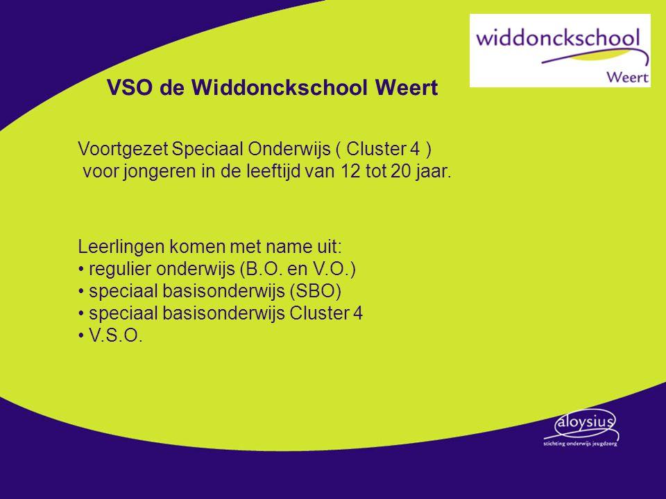 VSO de Widdonckschool Weert Voortgezet Speciaal Onderwijs ( Cluster 4 ) voor jongeren in de leeftijd van 12 tot 20 jaar. Leerlingen komen met name uit