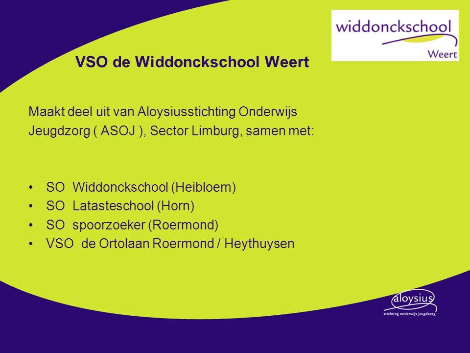 VSO de Widdonckschool Weert Maakt deel uit van Aloysiusstichting Onderwijs Jeugdzorg ( ASOJ ), Sector Limburg, samen met: SO Widdonckschool (Heibloem) SO Latasteschool (Horn) SO spoorzoeker (Roermond) VSO de Ortolaan Roermond / Heythuysen