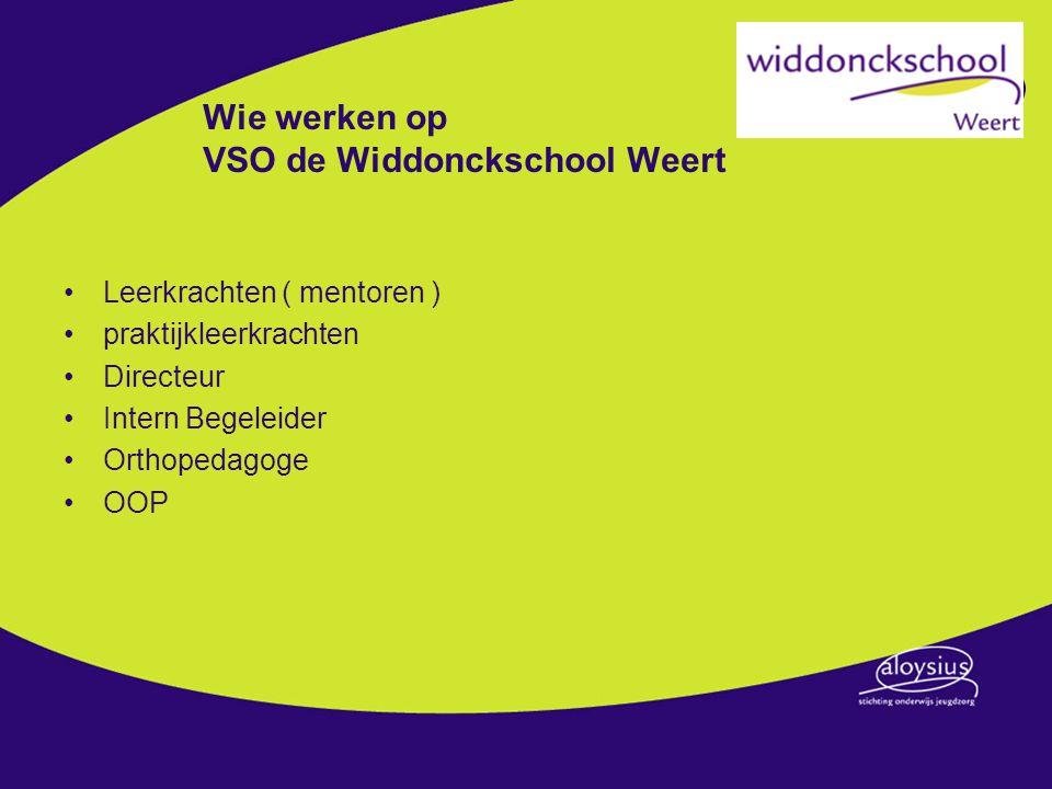 Wie werken op VSO de Widdonckschool Weert Leerkrachten ( mentoren ) praktijkleerkrachten Directeur Intern Begeleider Orthopedagoge OOP