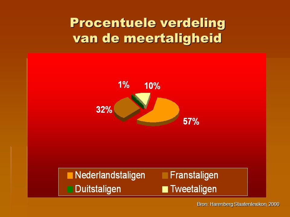 Procentuele verdeling van de meertaligheid Bron: Harenberg Staatenlexikon, 2000