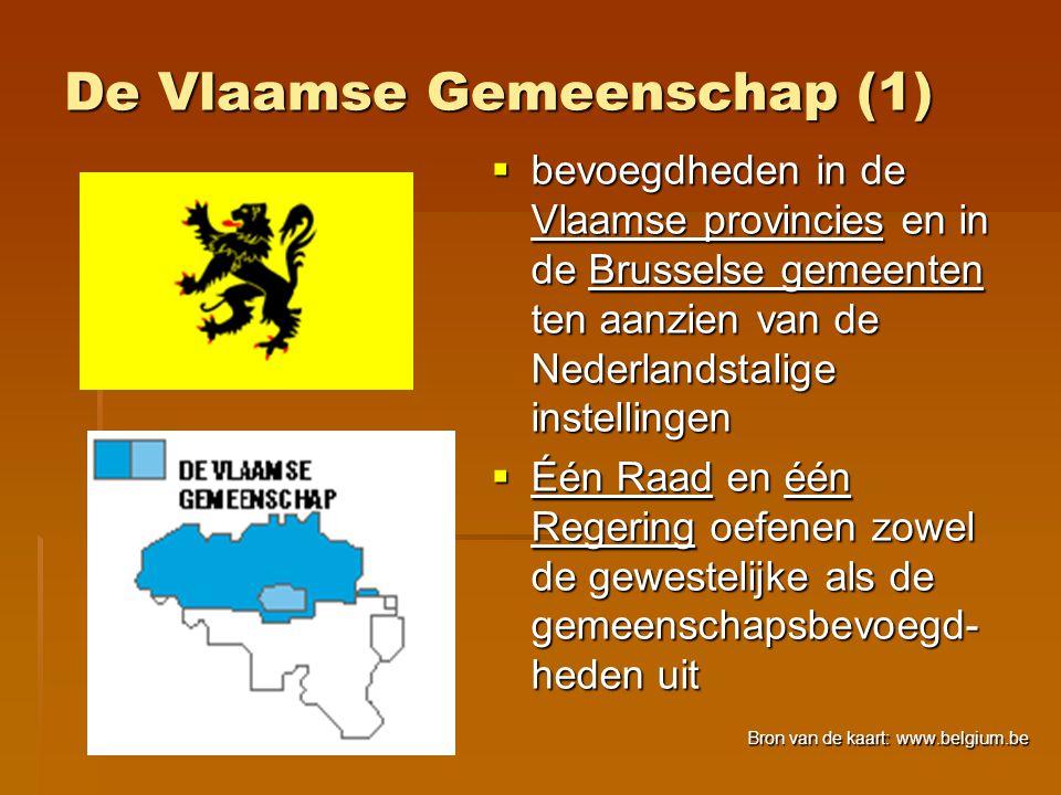 De Vlaamse Gemeenschap (1)  bevoegdheden in de Vlaamse provincies en in de Brusselse gemeenten ten aanzien van de Nederlandstalige instellingen  Één