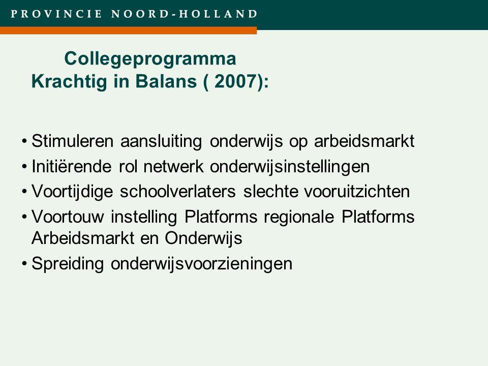 Titel presentatie (wijzigen in diamodel) Collegeprogramma Krachtig in Balans ( 2007): Stimuleren aansluiting onderwijs op arbeidsmarkt Initiërende rol