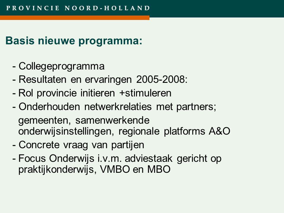 Titel presentatie (wijzigen in diamodel) Basis nieuwe programma: - Collegeprogramma - Resultaten en ervaringen 2005-2008: -Rol provincie initieren +st