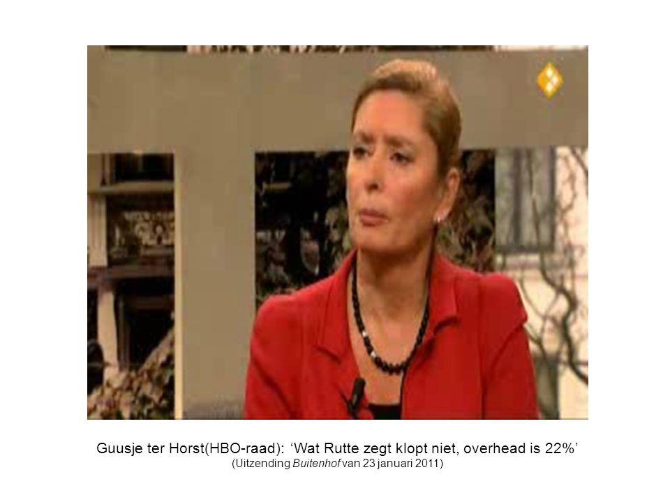 Guusje ter Horst(HBO-raad): 'Wat Rutte zegt klopt niet, overhead is 22%' (Uitzending Buitenhof van 23 januari 2011)