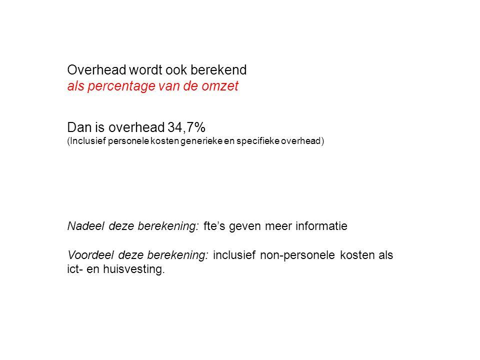 Overhead wordt ook berekend als percentage van de omzet Dan is overhead 34,7% (Inclusief personele kosten generieke en specifieke overhead) Nadeel dez