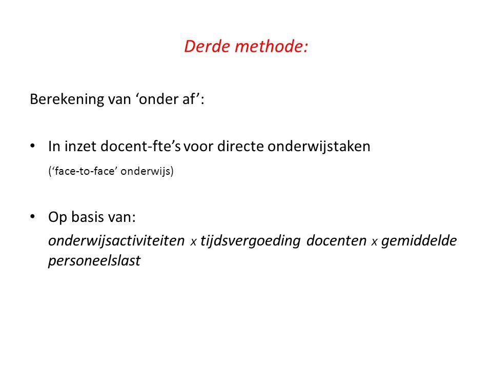 Derde methode: Berekening van 'onder af': In inzet docent-fte's voor directe onderwijstaken ('face-to-face' onderwijs) Op basis van: onderwijsactivite