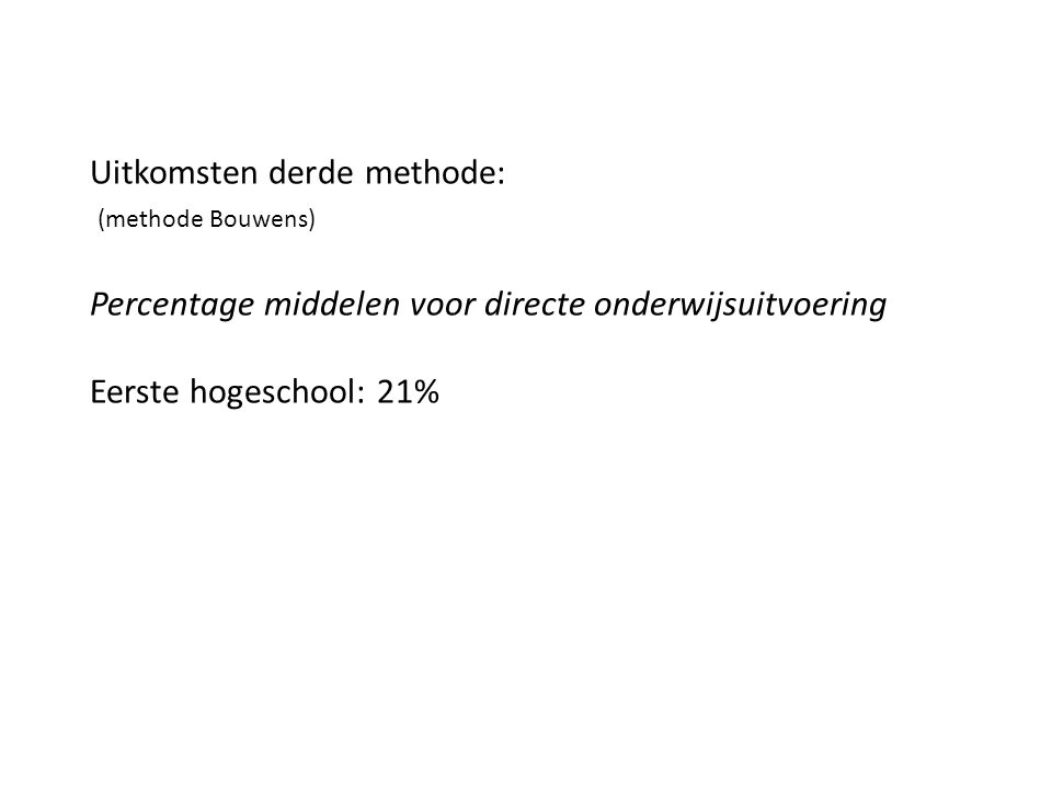 Uitkomsten derde methode: (methode Bouwens) Percentage middelen voor directe onderwijsuitvoering Eerste hogeschool: 21%