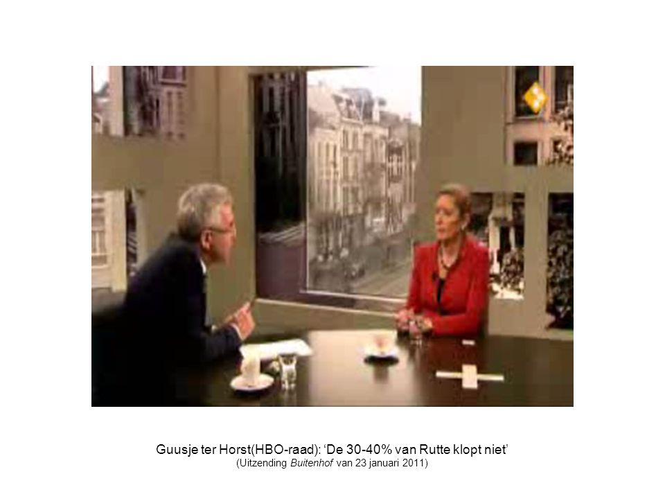Guusje ter Horst(HBO-raad): 'De 30-40% van Rutte klopt niet' (Uitzending Buitenhof van 23 januari 2011)