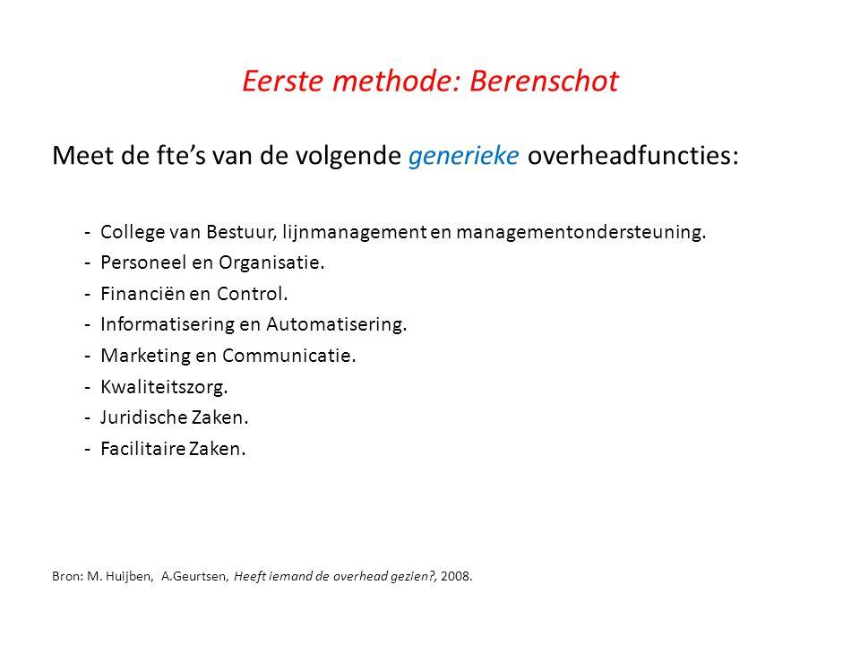 Eerste methode: Berenschot Meet de fte's van de volgende generieke overheadfuncties: - College van Bestuur, lijnmanagement en managementondersteuning.