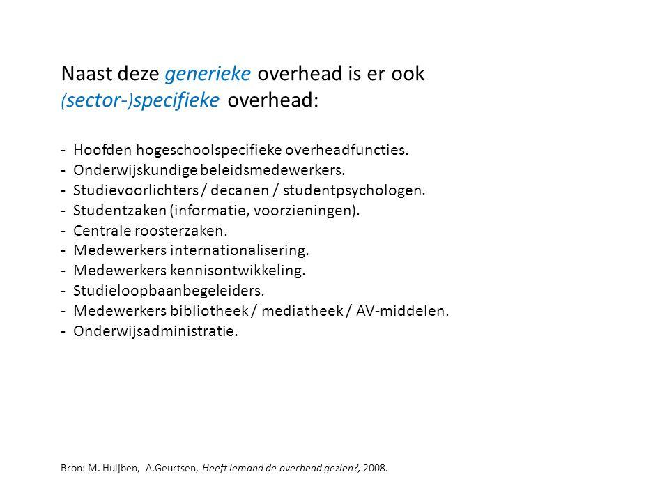 Naast deze generieke overhead is er ook ( sector- ) specifieke overhead: - Hoofden hogeschoolspecifieke overheadfuncties. - Onderwijskundige beleidsme