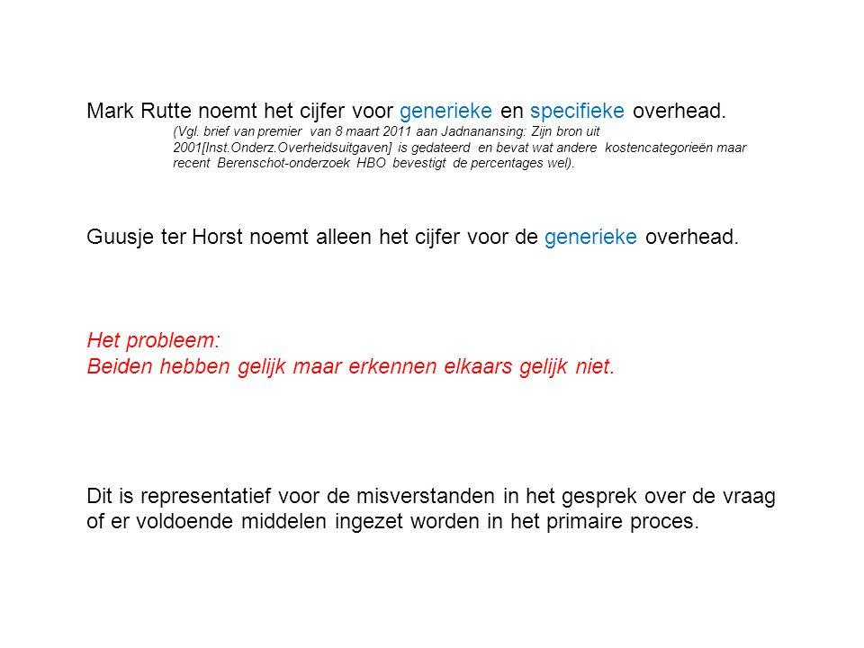 Mark Rutte noemt het cijfer voor generieke en specifieke overhead. (Vgl. brief van premier van 8 maart 2011 aan Jadnanansing: Zijn bron uit 2001[Inst.