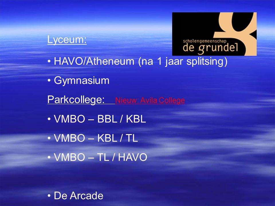 Lyceum: HAVO/Atheneum (na 1 jaar splitsing) Gymnasium Parkcollege: Nieuw: Avila College VMBO – BBL / KBL VMBO – KBL / TL VMBO – TL / HAVO De Arcade