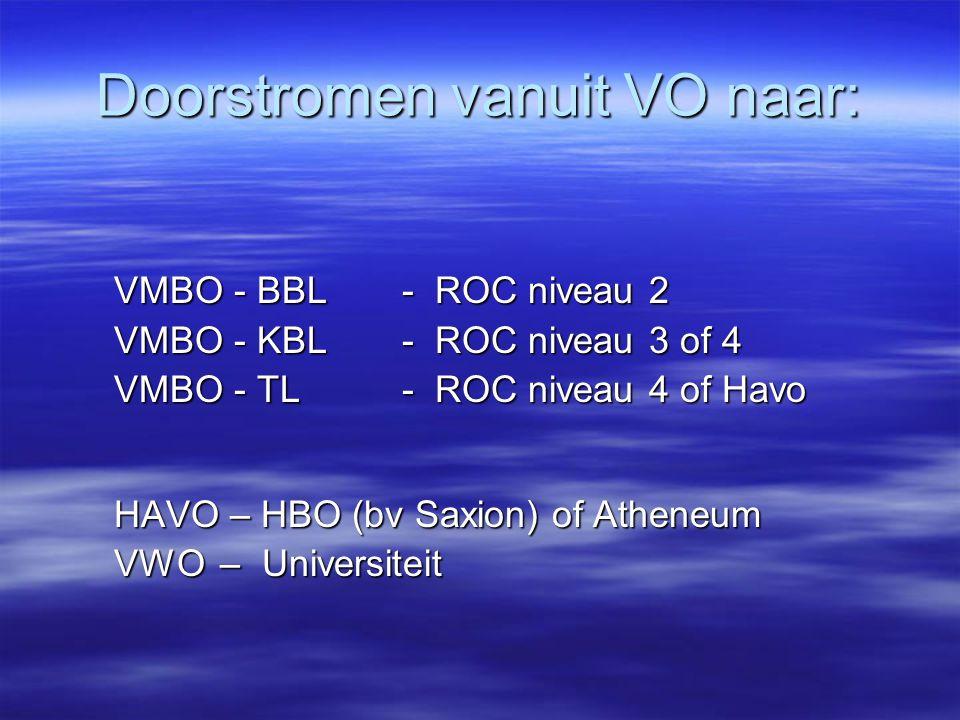 Doorstromen vanuit VO naar: VMBO - BBL - ROC niveau 2 VMBO - KBL - ROC niveau 3 of 4 VMBO - TL - ROC niveau 4 of Havo HAVO – HBO (bv Saxion) of Atheneum VWO – Universiteit