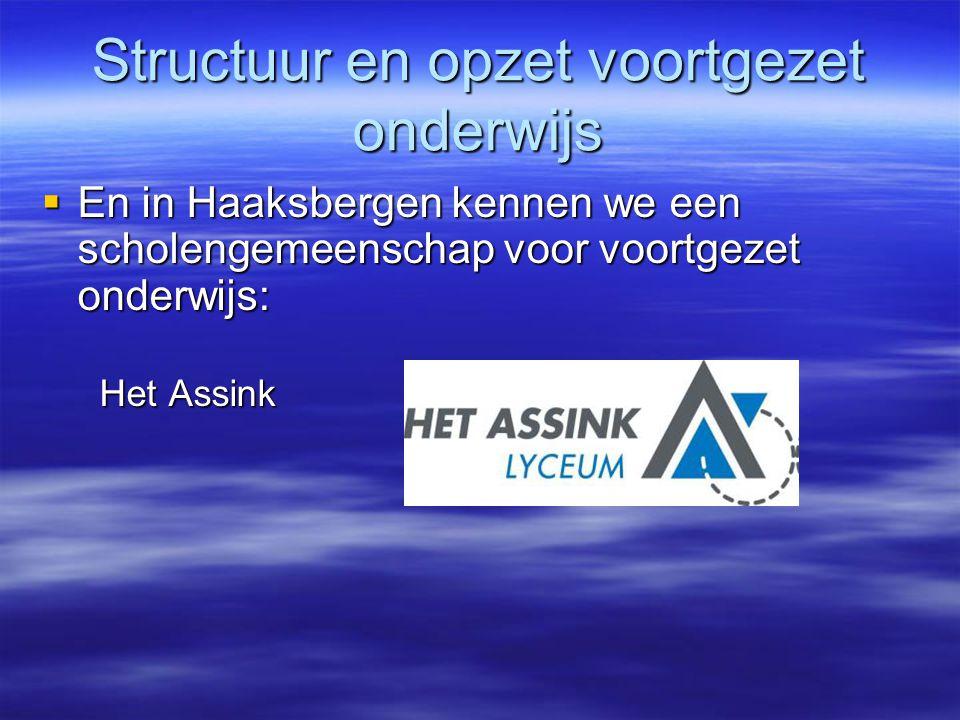 Structuur en opzet voortgezet onderwijs  En in Haaksbergen kennen we een scholengemeenschap voor voortgezet onderwijs:  En in Haaksbergen kennen we een scholengemeenschap voor voortgezet onderwijs: Het Assink Het Assink