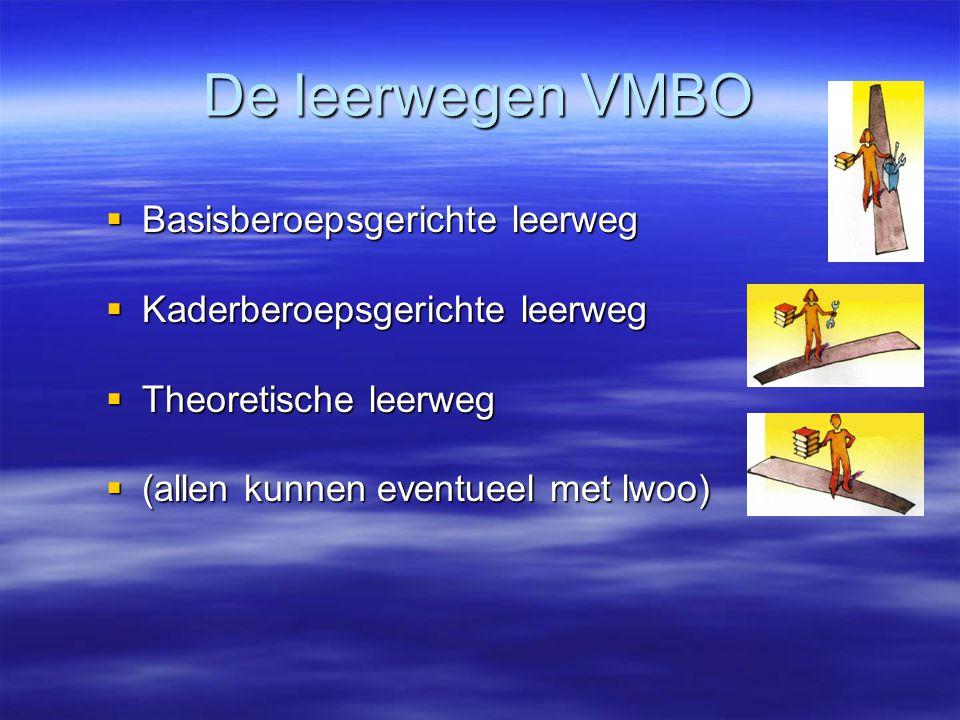 De leerwegen VMBO  Basisberoepsgerichte leerweg  Kaderberoepsgerichte leerweg  Theoretische leerweg  (allen kunnen eventueel met lwoo)