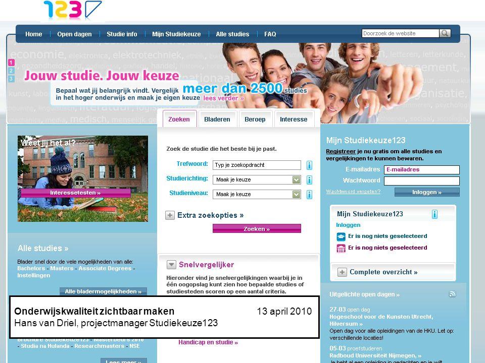 powered by Studiekeuze Webformulier Hans van Driel13-10-'09 Een robuuste informatie-infrastructuur voor studiekiezers in hoger onderwijs. Onderwijskwa