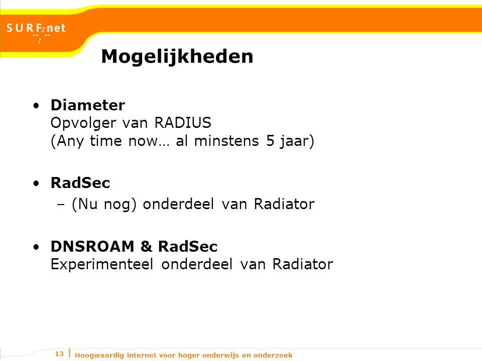 Hoogwaardig internet voor hoger onderwijs en onderzoek 13 Mogelijkheden Diameter Opvolger van RADIUS (Any time now… al minstens 5 jaar) RadSec –(Nu nog) onderdeel van Radiator DNSROAM & RadSec Experimenteel onderdeel van Radiator