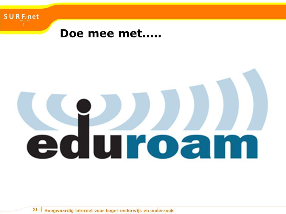 Hoogwaardig internet voor hoger onderwijs en onderzoek 21 Doe mee met…..